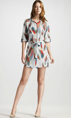 Tucker Feather Print Shift Dress BG